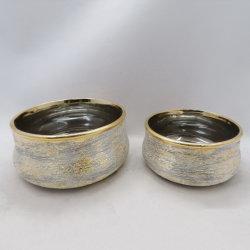 O ouro e prata Galvanoplastia Efeito escovado Jardim vasos de cerâmica vasos de cerâmica antiga