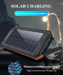 Pannello solare impermeabile portatile doppio caricabatterie USB 5 V alimentazione solare Banca 20000 mAh con torcia