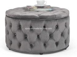 قماش مخملي بوف مقعد وقت الفراغ تخزين القهوة المستديرة الصوف زر الطاولة العثماني الموهوب