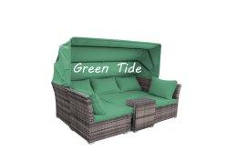 Outdoor meubles de jardin Canapé-lit de repos en rotin Set 5PCS lit de repos de loisirs en osier transats Sun Lounge lit de repos en rotin avec auvent