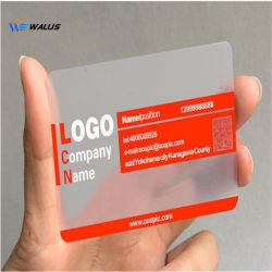 Carte d'ID d'affaires PVC en plastique transparent d'impression des cartes de visite translucide de gros (avec chrome encre argent)