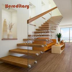 Vidrio templado de interior escaleras de madera maciza Baluster con ancho de vía escaleras flotantes