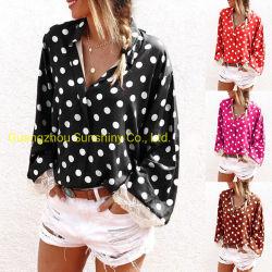 Beste verkaufenpolka PUNKT Dame-Oberseite-Hemd V-Stutzen Spitze-lange Hülsen plus Größen-Frauen-Chiffon- Bluse