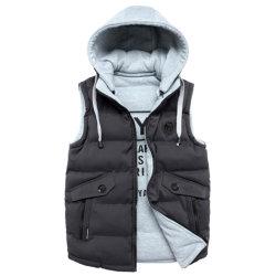Hombres Otoño Invierno el poliéster acolchado chalecos casual con capucha y en el forro de impresión
