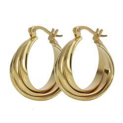 Trendy Huggie plaqué or 18K Brassard Hoop Earrings pour les femmes