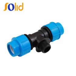 32mm pp raccord de compression de filetage du raccord de tuyau en plastique de raccord en T mâle