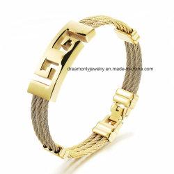 Chapado en oro 18k de hombre de acero inoxidable pulsera de cable