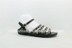 Couro plana simples moda Senhora Sandals