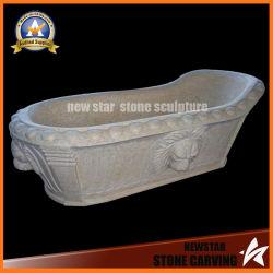石造りの切り分ける支えがないたらいの大理石の浴槽の温水浴槽