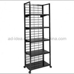 Store plancher métallique Présentoir rack avec 4 étagères réglables