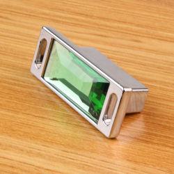 B Style 32mm Pitch Green Crystal Wood Drawer Knob