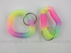 Plastic variopinto Spring Bracelet con Metal Chain per Bathroom Keys