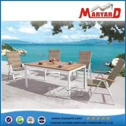 Alumínio moderno Jardim Mesa de jantar e cadeira alta qualidade Tabela de alumínio Leisure Hotel Resort Piscina mesa de jantar