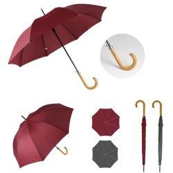 Palo largo Abrir automáticamente el color puro paraguas con mango de madera