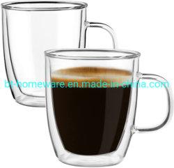 Эспрессо-кружка оптом 12 унций из двойного стекла с изоляцией Чашки прозрачное капучино изолированная чашка для питания чая пива С ручкой