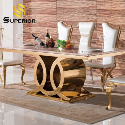 A China por grosso Luxury Golden Base metálica Home conjunto de móveis Marble mesa de jantar