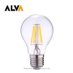 لمبة LED فتيلية بقوة 4 واط و6 واط مع 8 واط، زجاج بقوة A60 A19 مصباح LED اللزج كهرماني شفاف، مصباح اديسون E27 B22 E26 لمبة مصباح LED ساطع كلاسيكية بقوة 40 واط