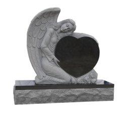 닐링 엔젤 조각상과 심장이 있는 검은 화강암 대리석 묘석