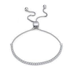 Les femmes 925 Sterling Silver Jewellery Zirconia Cubique Bracelet à breloque réglable