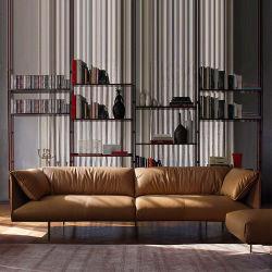 북유럽 사무실 #Sofa 가죽 간명 3명의 사람들의 현대 사업 접대실 소파 탁자 조합