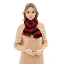 2019 Fashion Chine fournisseur fausse fourrure de lapin foulard Stripe Lady