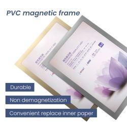 Double-Side clair signe de montage mural en plastique souple titulaire avec cadre photo magnétique autoadhésif