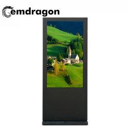 65 pouces écran vertical climatiseur plancher de la publicité de plein air de la machine l'écran LCD tactile Full HD 1080P de la publicité commerciale d'administration réseau LCD