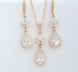 結婚式の花CZのネックレスの宝石類セット、新婦付添人の宝石類、ギフトの宝石類