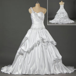 Cordon de satin blanc robe de bal robes de mariage de fleurs une épaule pour mariée W064