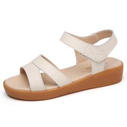 Novo Plano de moda Calçado em couro de mulheres sandálias casual (XYL-17)