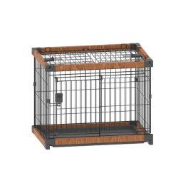 عالية الجودة في الداخل طي الحيوانات الأليفة Cage خشبية - بلاستيكية الكلب Crate مع حديد سلك معدني الكلب Cage