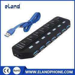 Elandphone nehmen 7 Port-Naben-Teiler-Hochgeschwindigkeitsadapter-Kabel USB-3.0 mit Energie für Mac PC ab