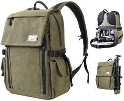 雨カバーが付いている防水キャンバス旅行DSLRカメラのバックパック袋