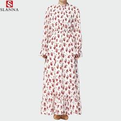 Nuevo diseño OEM Señoras musulmanas más modesto tamaño impreso con motivos florales mujer Kaftan hiyab una línea vestido largo
