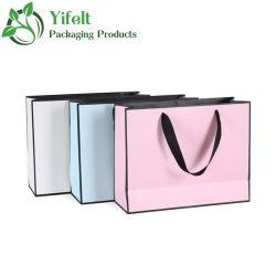 Confezione per acquisti in cartone bianco biodegradabile di lusso fine DA 250 G/M2 Borse con manici Borsa regalo