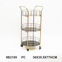 2021 Ronde vorm metalen wijnfles rek glas Koffietafel Hotel Trolley Service Bar Cart meubilair