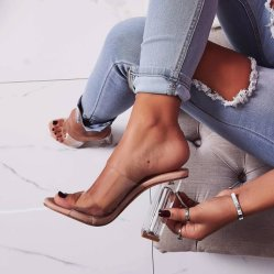 Heißer Verkaufs-transparenter hoher Absatz bereift Hefterzufuhr-Kristallsandelholz-Frauen-Schuh-Form-Dame-Schuhe
