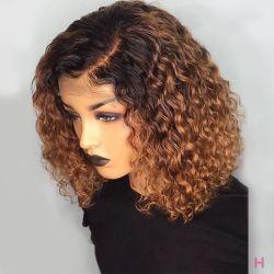 Court Angelbella Curly Lace Front Cheveux humains perruques avec Bébé Sèche pré plumés Remy dentelle brésilien Bob Perruques blanchis noeuds Virgin Cheveux humains