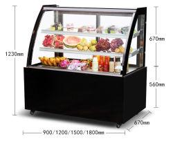 Het Kabinet van de Vertoning van de Diepvriezer van de Salade van de Cake van het Glas van de enig-Temperatuur van de supermarkt