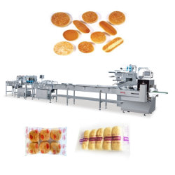Galletas automático/fideos instantáneos/rollos o bollos de pan/estaño/Hot Dog y hamburguesa/Productos de panadería de flujo de alimentos de la línea de Embalaje Embalaje Envoltura Horizontal máquina