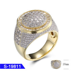Mode bijoux 925 Bague en argent sterling pour les hommes placage or