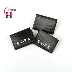 Пользовательский логотип торговой марки трафаретной печати центр складывания тканого границы черный атласный этикетки для одежды