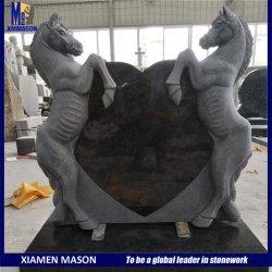Suministro de China al estilo occidental, tallados en piedra natural Horse estatua Memorial Grave piedras con forma de corazón