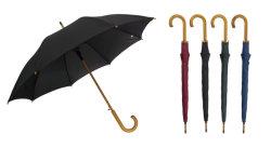 23''x8K long bâton Windproof Parapluie en fibre de verre auto ouvrir l'arbre en bois et de la poignée