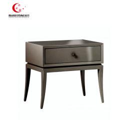 Chambre à coucher Mobilier de bois brillant gris un tiroir table de nuit dans les côtés de lit