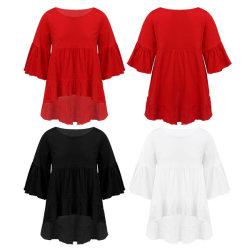 Moda niños niñas puro algodón color vestido de cuello redondo Top