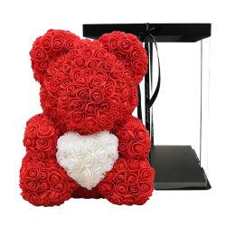 أفضل سعر هدية بمناسبة عيد الحب لصديق جيرال25 سم 40 سم الدب الوردي الوردي المصنوع من الإسفنج الصناعي مع صندوق الهدايا والشريط