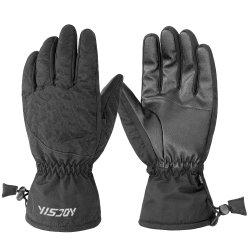 Doigt plein cuir synthétique résistant à écran tactile résistant à l'eau de la neige de ski gants gants de planche à neige pour les sports de plein air