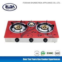 Modelo de grabadora de la India 3 Tapa de cristal vitrocerámica cocina de gas estufa de gas Aparato de Cocina