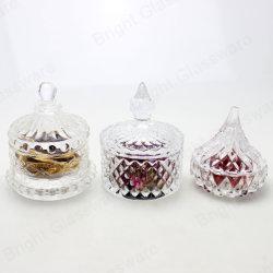 Маленький кристалл продовольственной стекла сахар конфеты сосуд с крышкой на Рождество свадьбы